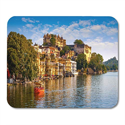 Mouse Pad City Palace and Pichola Lake in Udaipur Rajasthan India Mousepad for Notebooks,Desktop Computers Mouse Mats, Office Supplies