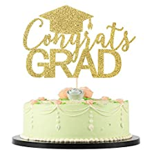 LVEUD Congrats Grad Cake Topper - Congrats Grad Cake Toppers - Graduation Party Decorations (Golden)