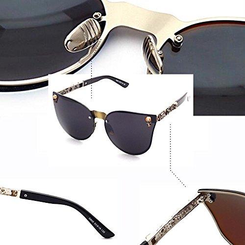 Oversize Femmes Marron Lunettes soleil de Hommes Rimless Crne BOZEVON Rétro UV400 Mode et gris zwBxS457q