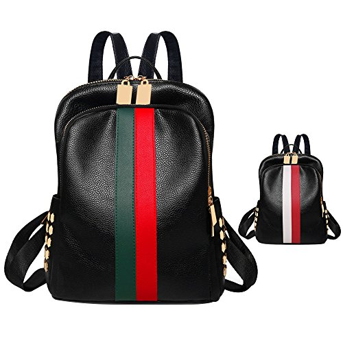 Women Lightweight PU Leather mini backpack purse fashion handbag black shoulder backpack purse red and green stripe (Red-green) (Black Leather Green Stripe)