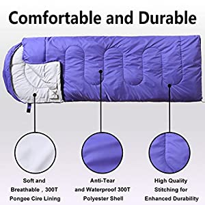 VERZEY Envelope Camping Sleeping Bag, Great for 4 Season, Traveling Camping Hiking Outdoor Activities Waterproof Sleeping Bag for Adults,Kids,Boys and Girls(Purple, Rectangular)