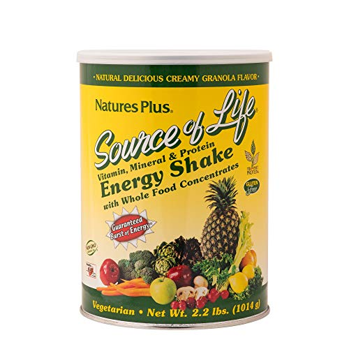 Base 2.2 Lb Powder - Natures Plus Source of Life Energy Shake - Granola Flavor - 2.2 lbs Multivitamin, Mineral & Protein Powder - Whole Food Meal Replacement - Non GMO, Vegetarian, Gluten Free - 26 Servings