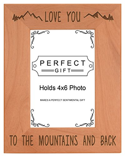 (ThisWear Mountain Gifts Love You Mountains Back Vacation Frame Wood Engraved 4x6 Portrait Picture Frame)