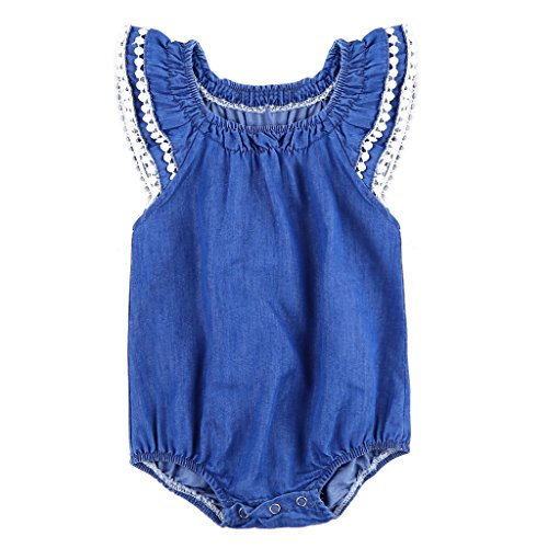 MIOIM Infant Toddler Baby Girls Denim Ruffled Sleeves Lace Crochet Edge Snap Rompers - Edge Romper
