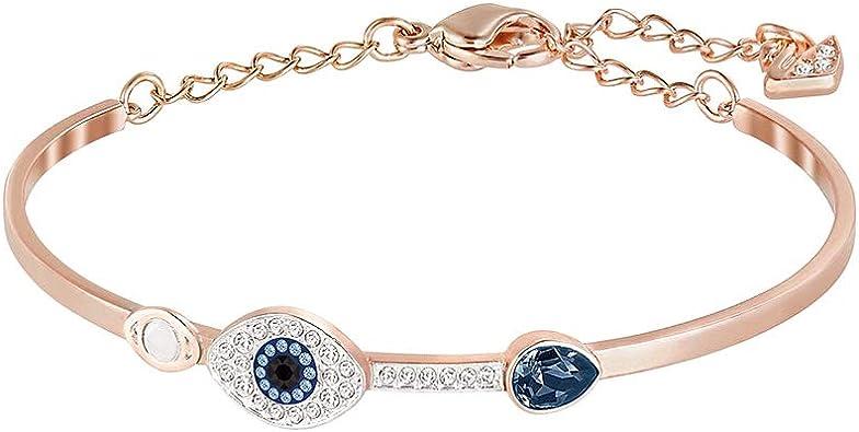 Swarovski Symbolic Evil Eye Armreif, Damenarmreif im Metallmix mit Funkelnden Swarovski Kristallen, Zwei Augenmotiven und Kristalltropfen