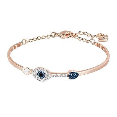 Bracelet mixte offre un contraste saisissant entre plaqué or rose et cristaux bleu