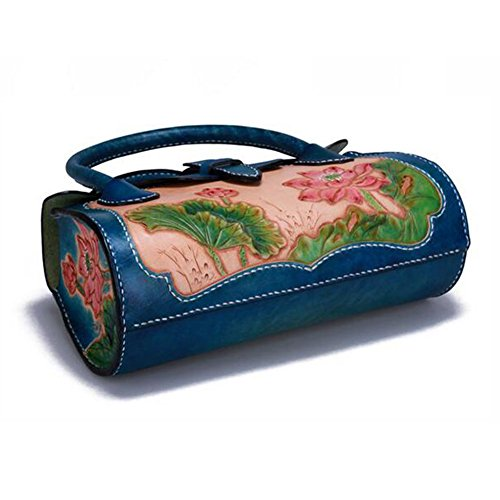 Xiaopangzi sac à main en cuir sculpté sac de lotus de style chinois rétro pour les filles et les femmes
