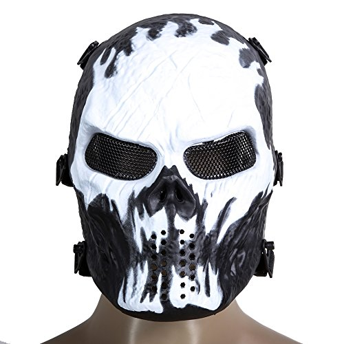 New Arrival Airsoft Paintball Tactical Full Face Protection Skull Mask Army Games Outdoor Metal Mesh Eye Shield Costume for Cosplay Party (Dark Knight Joker Costume Ski Mask)