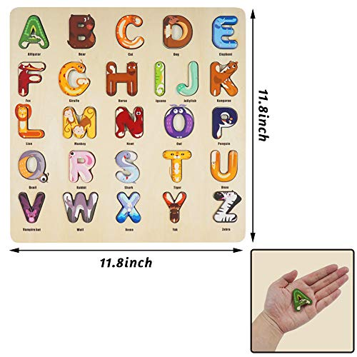 3 otters Alphabet Puzzles for Kids, Wooden Alphabet Puzzle Upper Case Letter and Learning Board Toy, for Kindergarten Toddlers & Preschools