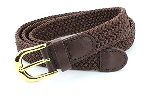 Women's Braided Elastic Woven Stretch Belt Solid Color Gold Buckle and Leather Tip (Brown-XL)