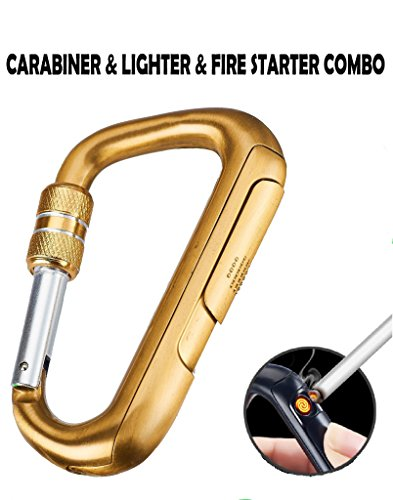 Novelty Wares - Safety Buckle Camping USB Electronic Carabiner Lighter Portable Metal Cigarette Plasma Lighter Replaceable Tungsten Windproof Cigar Arc Lighter (Gold)