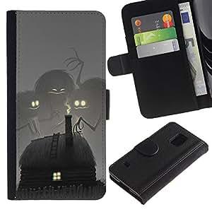 Cuento de hadas del monstruo Dibujo Niños- la tarjeta de Crédito Slots PU Funda de cuero Monedero caso cubierta de piel Para Samsung Galaxy S5 V SM-G900