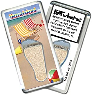 "product image for Marco Island, FL""FootWhere"" Souvenir Fridge Magnet. Made in USA (MCI201 - Beach Gear)"