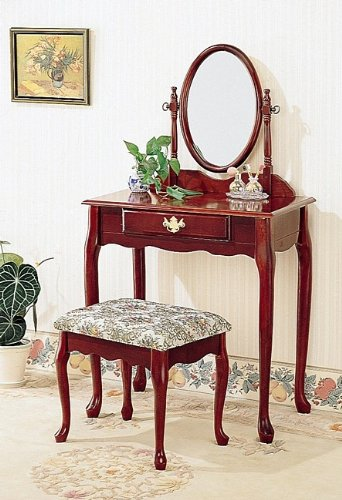 (Cherry Finish Vanity Set w/Stool by Coaster)