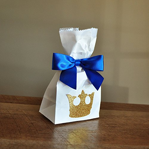 Royal Prince Baby Shower Favor Bags. Mini Party Favor Bags with King Crown and Bows 10CT.