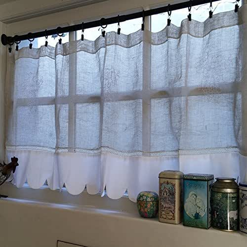 Kitchen Window Cafe Curtains: Amazon.com: Custom Personalized Sheer French Linen