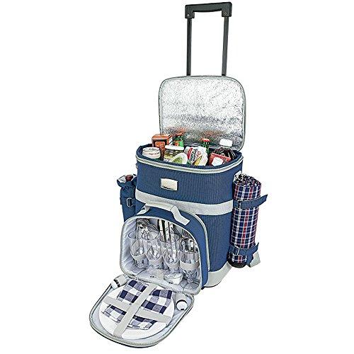 Picnic Cooler on Wheels with Blanket, Utensil for 4, Removable Wine Bottle Holder (Navy)