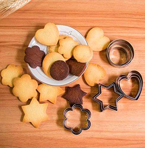 12PCS Cookie Cutters Set Round, Hexagram, Flower, Love for DIY with Mini Geometric Shapes Cookie Cutters, Vegetable Shape Cutters for Kitchen, Baking, Halloween & Christmas