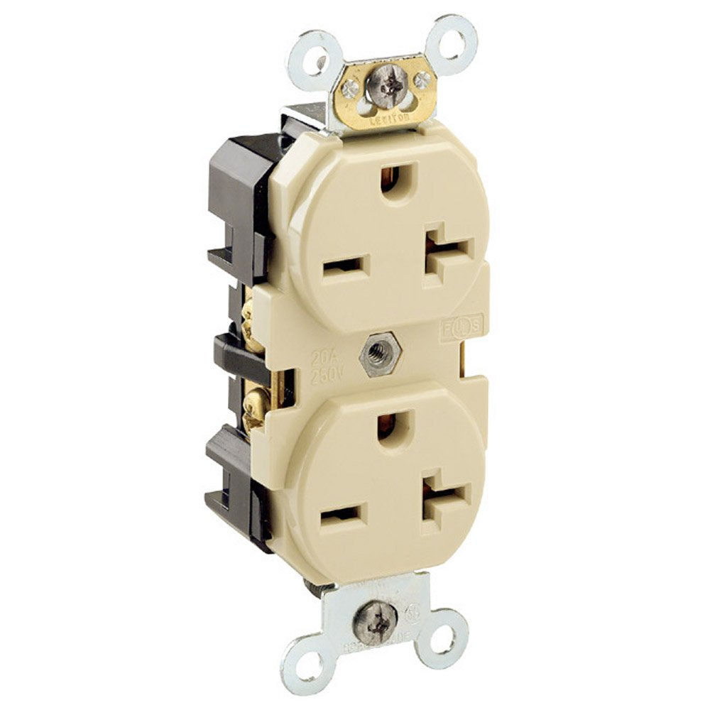 Leviton 5462-I 20 Amp, 250 Volt, Industrial Heavy Duty Grade, Duplex Receptacle, Straight Blade, Self Grounding, Ivory