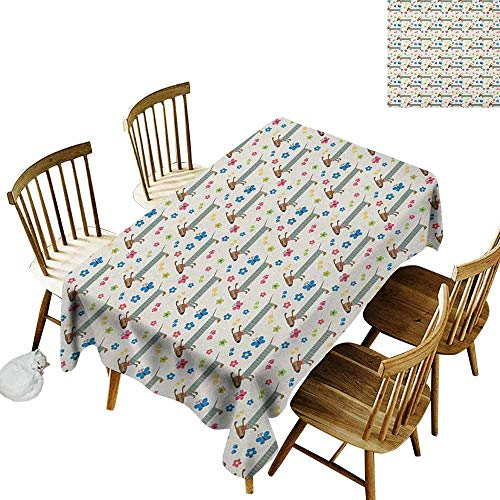 (DONEECKL Dog Lover Colorful Tablecloth Protection Table Wiener Dog Cartoon Dachshund Puppy with Striped Pajamas Flowers and Butterflies Multicolor W60 xL84)