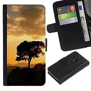 Be Good Phone Accessory // Caso del tirón Billetera de Cuero Titular de la tarjeta Carcasa Funda de Protección para Samsung Galaxy S3 MINI NOT REGULAR! I8190 I8190N // Sunset Tree Bea
