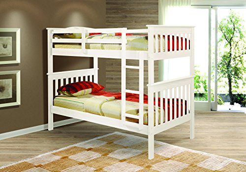 Donco Kids Mission Bunk Bed, Twin/Twin, White ()