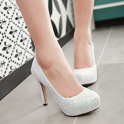 COOLCEPT Women Fashion Slip On Court Shoes Stiletto Pumps Closed Toe Shoes White niu8VwGn2