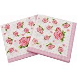 WallyE Pink Floral Napkins for Thanksgiving Tea Party Birthday or Wedding, Vintage Paper Napkins, 20 Pack