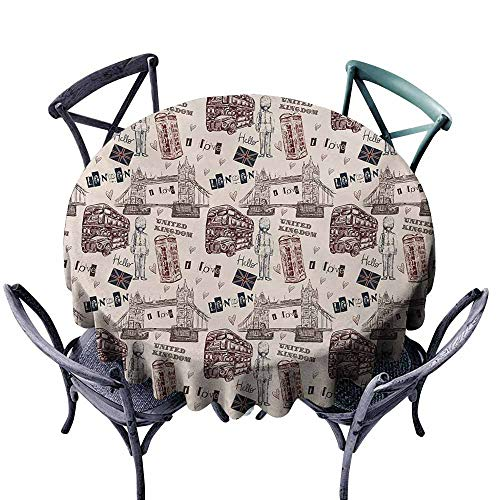 Round Tablecloth Modern London United Kingdom Island Print with City Signs Bus Bridge Artwork Print Black and Maroon Party D35