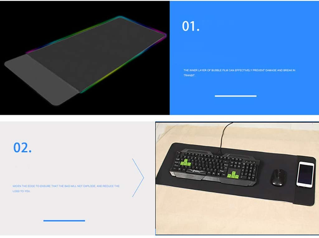 Black Barcley Waterproof Wireless Mouse Pad Charger 3 in 1 Qi Wilress Fast Charging 10W Mouse Mat with LED Colorful Light /& Extended Large Professional RGB Gaming Keyboard Mat with Anti-Slip Base