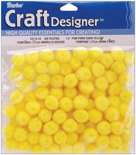100 Yellow Craft Pom Poms
