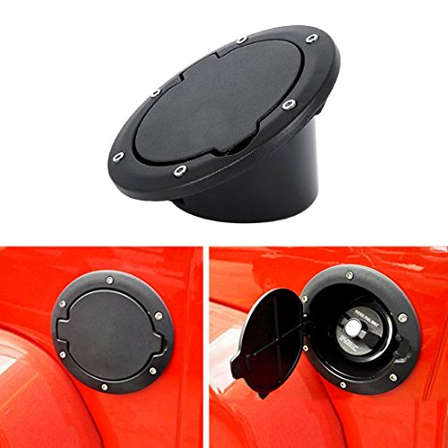 IPARTS Powder Coated Black Steel Gas Fuel Tank Cap Cover for Jeep Wrangler JK JKU Unlimited Rubicon Sahara X Off Road Sport Exterior Accessories Parts 2007-2017