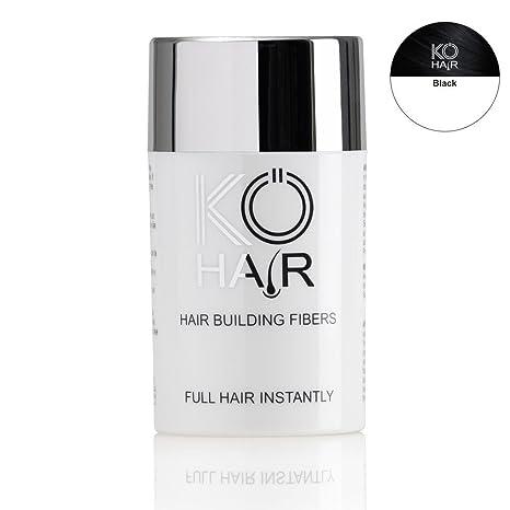 KÖ-HAIR FIBERS Haarverdichtung, Schütthaar, Streuhaar für lichtes Haar und Teilglatze 12g Farbe Schwarz