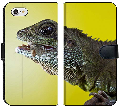 Liili Premium iPhone 8 Flip Micro Fabric Wallet Case Close up Portrait of Beautiful Water Dragon Lizard Reptile Eating an Insect Photo 19504434