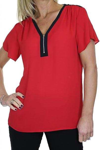 ICE (4048-2) Georgette Blusa noche elegante en color rojo (36)