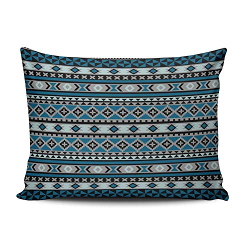 ONGING Decorative Pillowcases Tribal Navajo Blanket Pattern Blue Grey Black Customizable Cushion Rectangle Boudoir Size 12x16 Inch Throw Pillow Cover Case Hidden Zipper One Sided Design Printed - Grey Boudoir Pillow