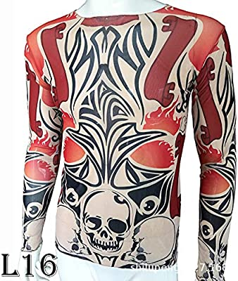 tzxdbh Tatuaje Tatuaje Camiseta de Manga Larga Señoras Fan Camisa de Fondo con Estampado Digital Festival de música Disfraz L16 骷髅 红花 170CM-182CM 60KG-110KG: Amazon.es: Hogar