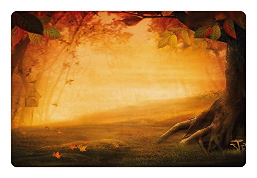 Ambesonne Fall Pet Mat for Food and Water, Mysterious Valley