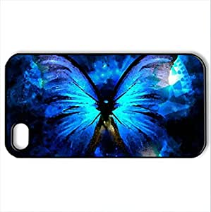 BLUE BUTTERFLY - Case Cover for iPhone 4 and 4s (Butterflies Series, Watercolor style, Black)