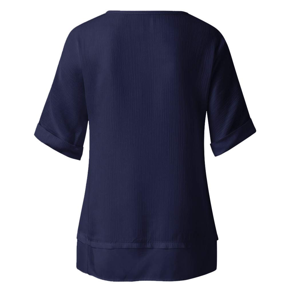 Wobuoke Women's Round Neck T-Shirt Casual Short Sleeve Solid Color Loose Pullover Tops Blouse Navy