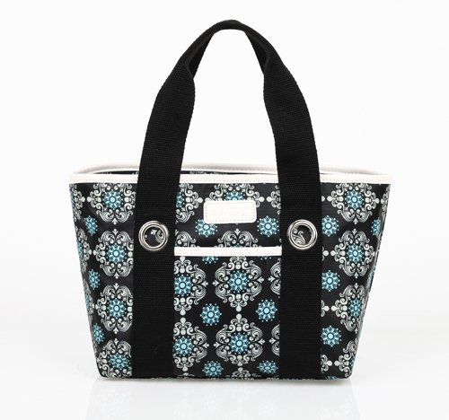 sachi-11-194-insulated-fashion-lunch-tote-black-medallion