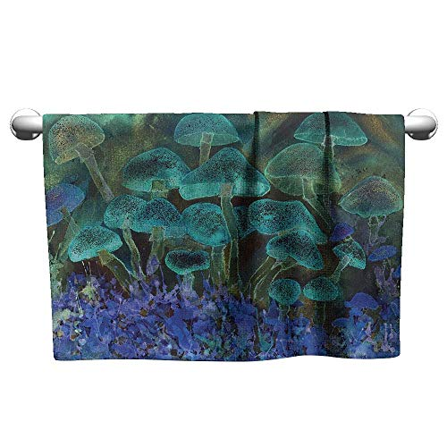 "alisoso Psychedelic,Kitchen Towels Unusual Speckled Fluorescent Mushroom Figures Dreamy Fantasy Graphic Gym Towels for Women Slate Blue Violet W 24"" x L 8"""
