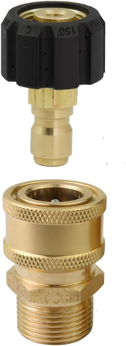 Brass Quick Connect M22//14 to 3//8 Male Coupler for Car Clean Pressure Washer