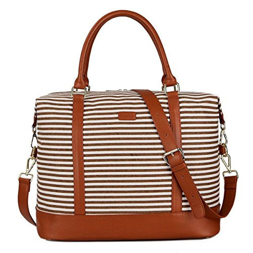 (BAOSHA HB-28 Ladies Women Canvas Travel Weekender Overnight Carry-on Shoulder Duffel Tote Bag With PU Leather Strap (Kakhi))