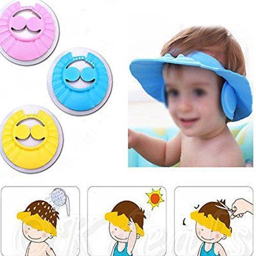 Yolandabecool bébé imperméable Bonnet de douche, bouchon d'oreille et bouchon de cheveux (Jaune)