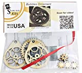 Bubbles Gears Ornament Kit - by Steamy Tech - Make a Steampunk Inspired Holiday Ornament with Real Spinning Gears for your Christmas Tree! Xmas Craft Kit. Made of Wood, Made in the USA!
