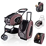 ibiyaya Multifunction Pet Carrier + Backpack + CarSeat + Pet Carrier Stroller + Carriers with Wheels for Dogs and Cats All in ONE (Brown)