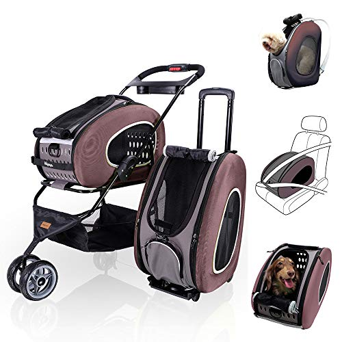 - ibiyaya 5 in 1 Pet Carrier + Backpack + CarSeat + Pet Carrier Stroller + Carriers with Wheels for Dogs and Cats All in ONE (Brown)
