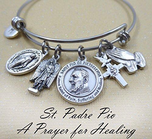 Patron Saint of Healing, St. Padre Pio Bangle Bracelet, Healing Prayer, Get Well Gift (Saint Pio Padre Patron)