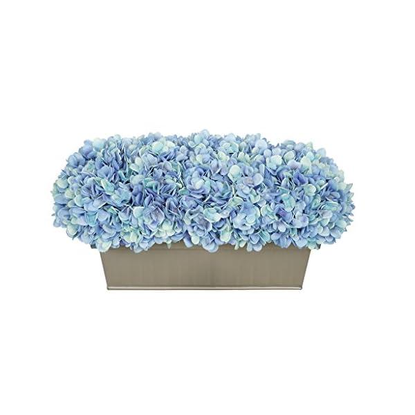 House of Silk Flowers Artificial Hydrangea in Gloss Silver Zinc Rectangle (Blue)